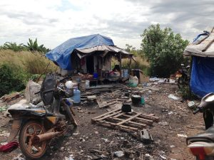 A home of one of the scavenger families living and working on the dump