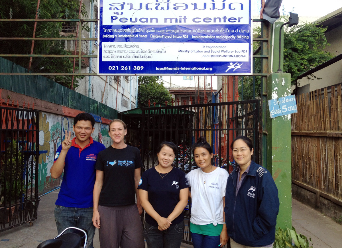 The Fi/ Peuan Mit team and SSP CEO Amy Hanson at their head office in Vientiane