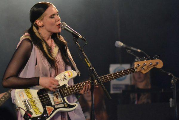 Kate Nash on stage during her set at Glastonbury
