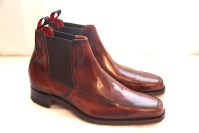 """In 2012 he donated these Chelsea boots in a size 91/2 along with a signed photo. Tom told us, """"I wore these Jeffrey West shoes when I premiered my new single , Tower of Song from the album Spirit in The Room on live The Jools Holland Show in April and now I am pleased to donate them to help improve the lives of children all over the world."""""""